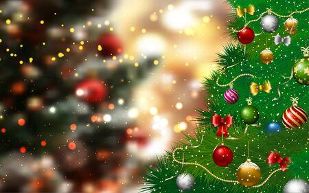 Illustration pour Christmas tree in the red studio room - image libre de droit