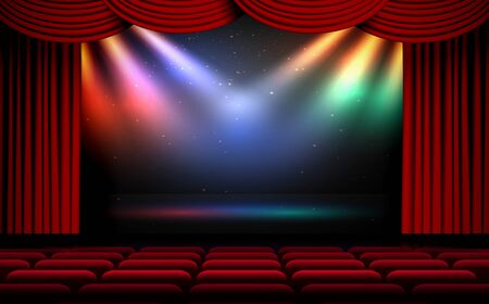Illustration for colorful light of spotlight on the stage - Royalty Free Image