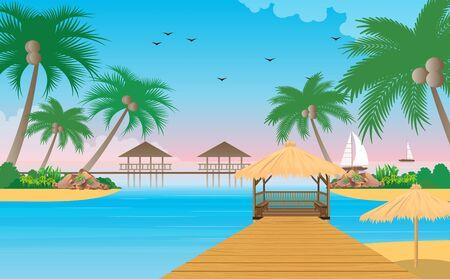 Illustration pour landscape of wooden pavilion on the beach - image libre de droit