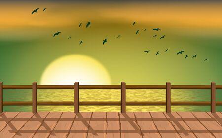 Illustration pour landscape of wooden bridge on the beach in sunset - image libre de droit