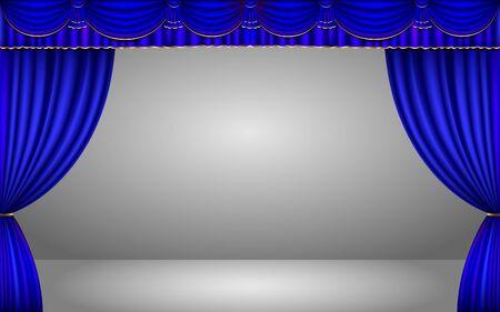 Illustration pour blue curtain in the studio room - image libre de droit