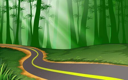Illustration pour landscape of the road in the forest - image libre de droit