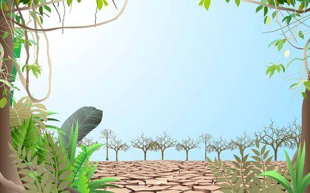 Illustration pour landscape of trees on the dry soil - image libre de droit