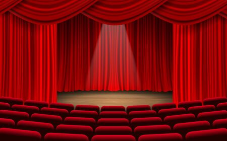 Illustration for red chairs and red curtain on the stage in the hall - Royalty Free Image