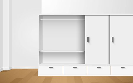 Illustration pour white wardrobe and showcase in the room - image libre de droit