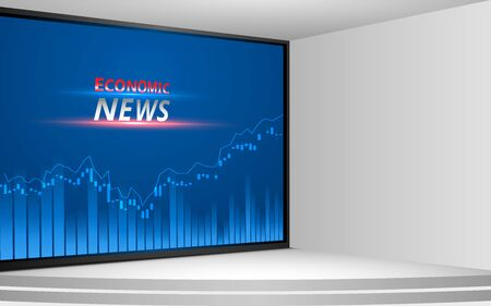 Illustration pour white stand and economic news on lcd screen background in the news studio room - image libre de droit
