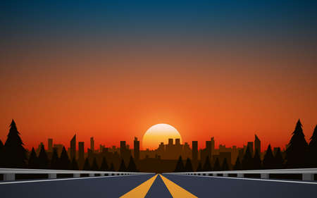Illustration pour landscape of road to city in the mountain in sunset - image libre de droit