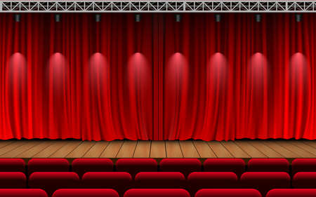 Photo pour red curtain and light of spotlight on the wooden stage in the hall - image libre de droit