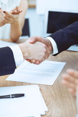 Photo pour Business people shaking hands at meeting or negotiation in the office. Handshake concept. Partners are satisfied because signing contract - image libre de droit