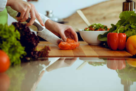 Photo for Unknown human hands cooking in kitchen. Woman slicing red tomatoes. Healthy meal, and vegetarian food concept. - Royalty Free Image
