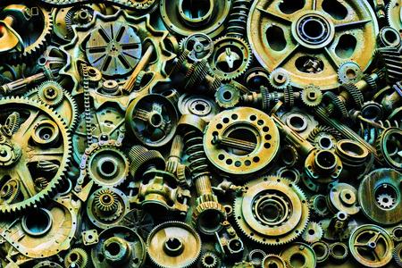 Photo pour Steampunk texture, backgroung with mechanical parts, gear wheels, steam punk cogwheels, heap of auto parts, old rusty iron chains, springs, wheels, close up - image libre de droit