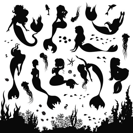 Ilustración de Black and white silhouettes of mermaid isolated on white background. Set of silhouettes of mermaids and sea animals. Silhouette of the sea bottom covered with algae. Vector illustration. - Imagen libre de derechos
