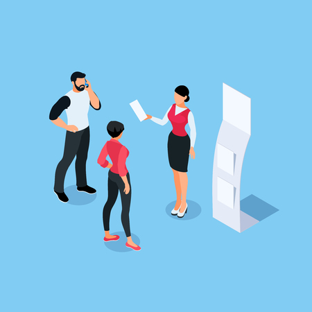 Illustration pour Isometric concept of presentation with leaflets and advertising poster. 3d people. Blank mockup. Vector illustration. - image libre de droit