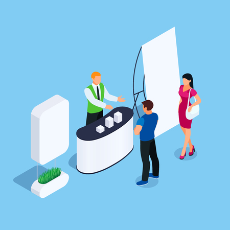 Illustration pour Isometric stand with promoter and customers. Promotional booth with advertising poster. Blank mockup. Vector illustration. - image libre de droit