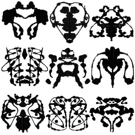 Nine ink blot for psychiatric evaluations.