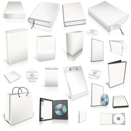 White 3d blank cover collection, isolated on white