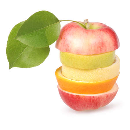 Cheerful mixed fruits with leaves including orange, pear, apple and lemon isolated on white.