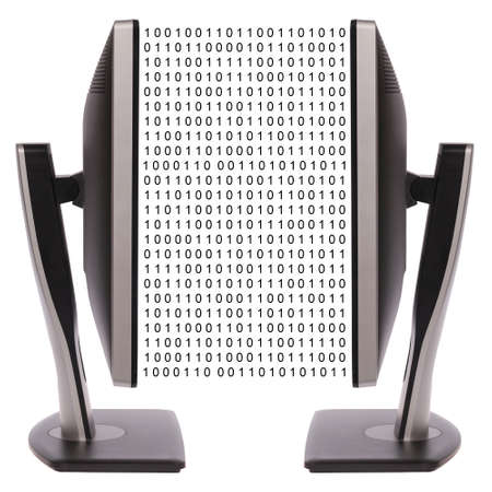 Two computer monitor on white background. Digital data exchange