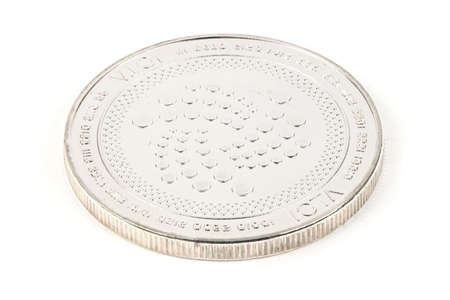 Photo pour Face of the crypto currency silver iota isolated on white background. High resolution photo. Full depth of field. - image libre de droit