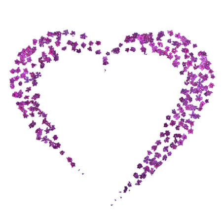 Photo pour Faded purple hydrangea set out in the form of heart. Isolated on white background. High resolution photo. Full depth of field. Love photo concept - image libre de droit