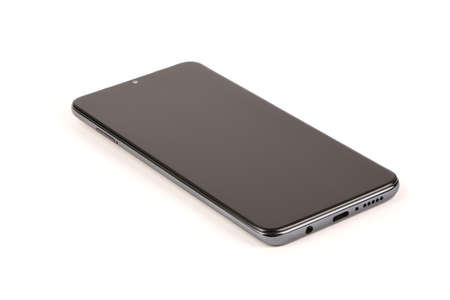 Photo pour Black mobile smartphone with blank screen. isolated on white background. High resolution photo. Full depth of field. - image libre de droit