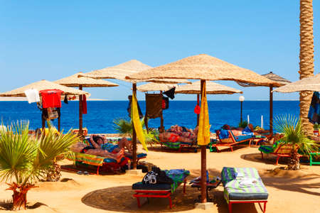 HURGHADA EGYPT MAY 16 2015: People resting on the beach