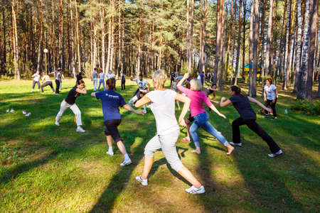 GRODNO, BELARUS - SEP 09: Group of capoeira students with master teacher in FICAG school in Grodno, Belarus at September 09, 2016