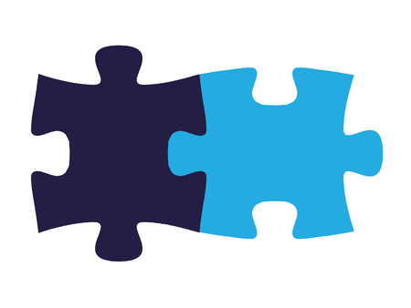 Isolated puzzle pieces, fit together on all sides seamlessly