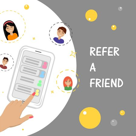 Illustration pour Refer a friend concept with smartphone man and woman icons. Vector flat illustration - image libre de droit