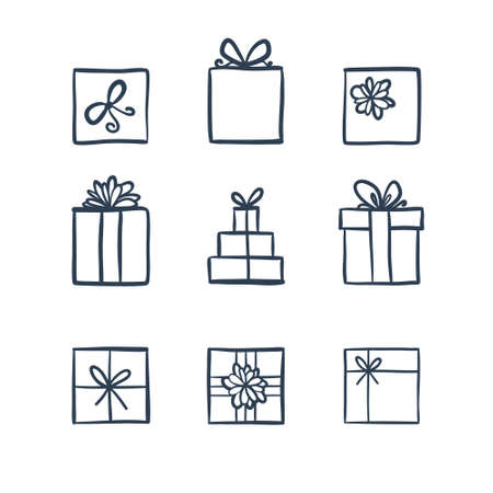 Hand drawn icons gifts with bows in cartoon style. Doodle gift box icon set with different bows. Gift wrap. Gift package. Doodle gift box icon isolated on white background. Thin line doodle icon set.