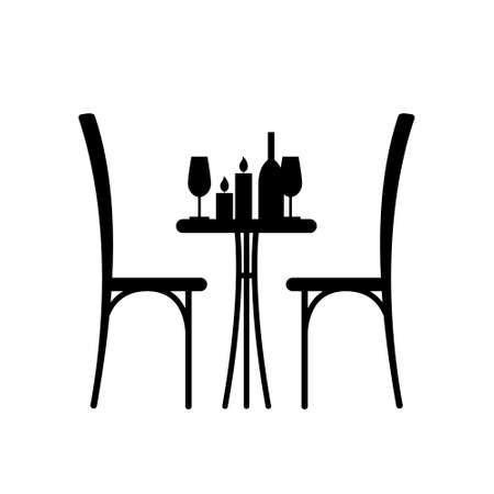 Wine and candles on the table and chair silhouette. Silhouette of a table in a cafe. Table with wine and glass and with a chairs beside him. Interior of the cafe. Table in the restaurant for two.
