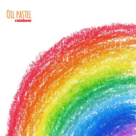 Illustration pour Hand drawn colorful oil pastel rainbow background. Crayon background - image libre de droit