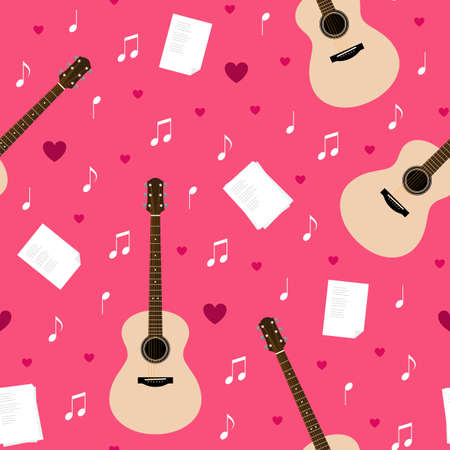 Vector seamless pattern with guitars, lyrics, notes and hearts. Creativity, writing love songs, serenade. Valentine's day pink texture for wrapping paper, gift bag, web and ads design.