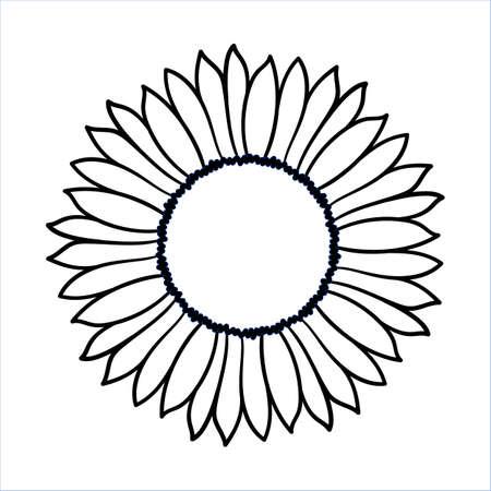 Ilustración de Vector doodle sunflower illustration. Simple hand drawn icon of flower with yellow petals isolated on white background. Line cartoon style.  - Imagen libre de derechos
