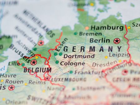 Photo pour World map with focus on Federal Republic of Germany with capital city Berlin. - image libre de droit