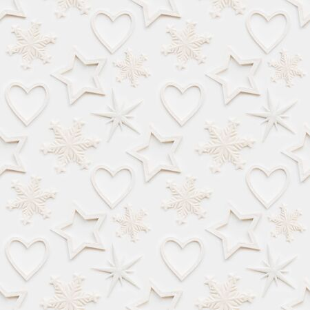 Photo pour Seamless pattern with decorative stars, snowflakes, hearts. Christmas decorations on white background. New Year concept, photo pattern. - image libre de droit