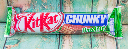PUTRAJAYA, MALAYSIA, JULY 21ST, 2015. Kit Kat is a chocolate covered wafer bar created in 1911 by Rowntree's of York, England. Nestle which acquired Rowntree in 1988 now sells Kit Kat globally.
