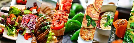 Photo pour Collage of various food. Healthy and tasty vegetarian food, menu. Delicious - image libre de droit