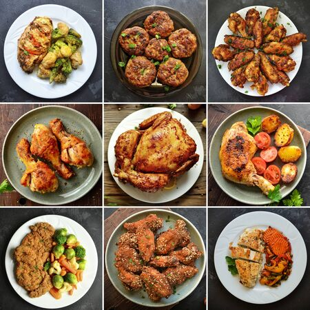 Photo pour Collage of various food. Meat dishes. Meatballs, nuggets, chicken wings chicken Delicious - image libre de droit