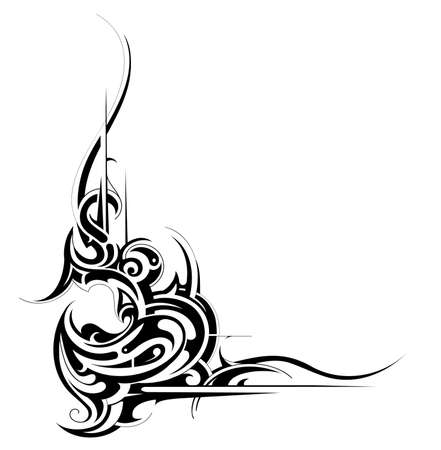 Decorative tribal art tattoo isolated on white