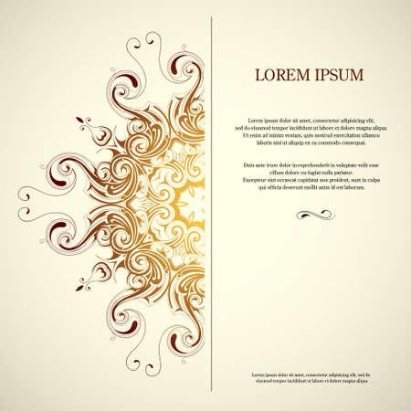 Illustration pour Square card with decorative vintage ornament - image libre de droit