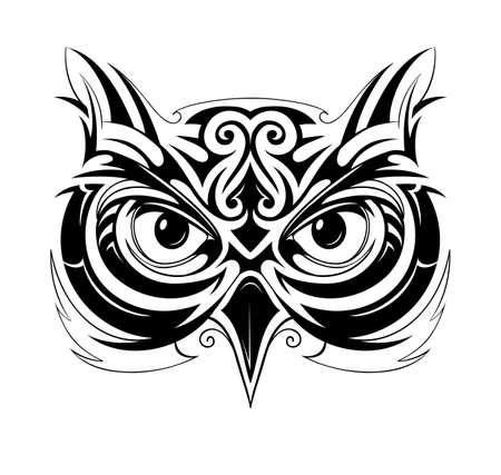 Illustration pour Vector illustration with owl head tattoo sketch - image libre de droit