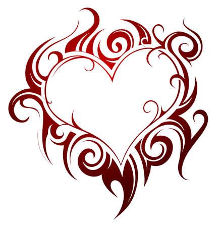 Heart shape tattoo with fire swirls