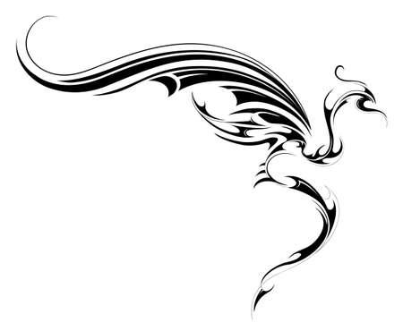 Illustration pour Flying dragon tattoo sketch isolated on white - image libre de droit