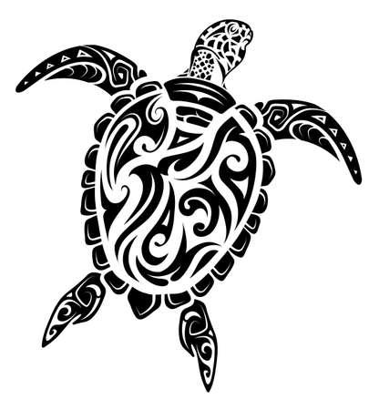 Illustration pour Maori ethnic style turtle tattoo - image libre de droit
