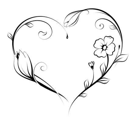 Ilustración de Floral heart shape design. - Imagen libre de derechos