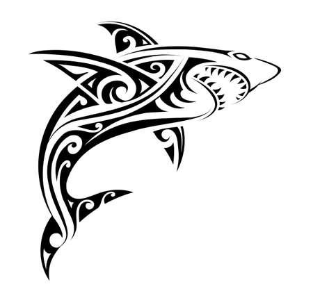 Illustration pour Shark tattoo shape - image libre de droit