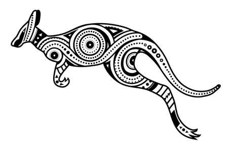 Photo pour Ethnic aboriginal style kengaroo concept design - image libre de droit