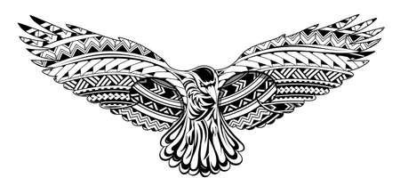 Illustration pour Crow tattoo with Maori style ornaments - image libre de droit