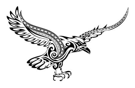 Illustration pour Tribal tattoo crow featuring a fusion of maori  style ornament and polynesian patterns - image libre de droit